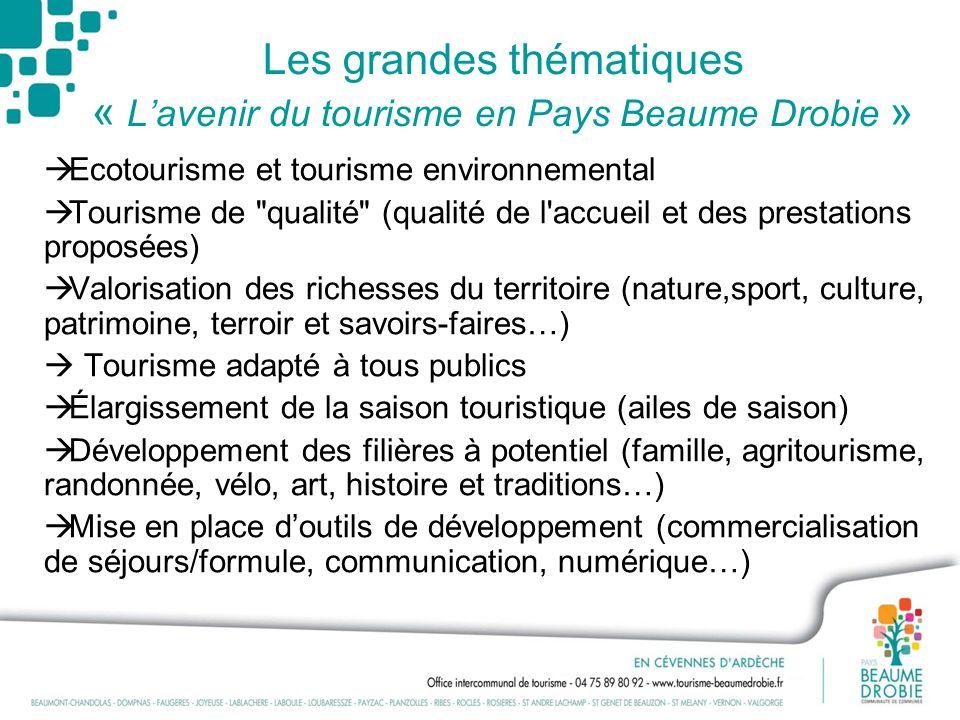 Les grandes thématiques « Lavenir du tourisme en Pays Beaume Drobie » Ecotourisme et tourisme environnemental Tourisme de