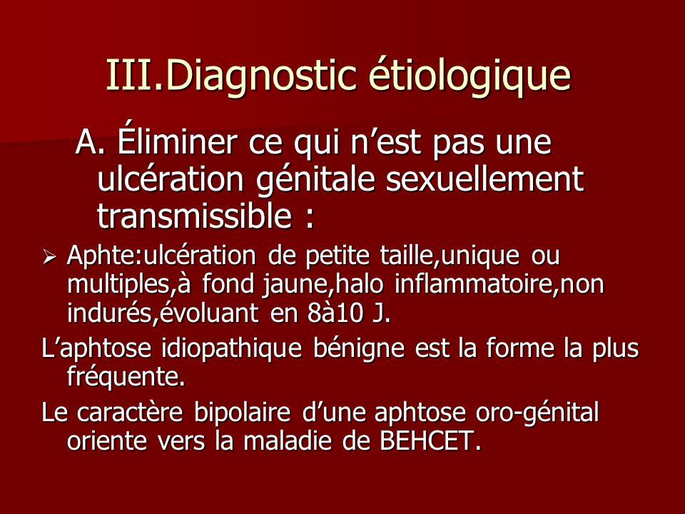 III.Diagnostic étiologique A. Éliminer ce qui nest pas une ulcération génitale sexuellement transmissible : Aphte:ulcération de petite taille,unique o