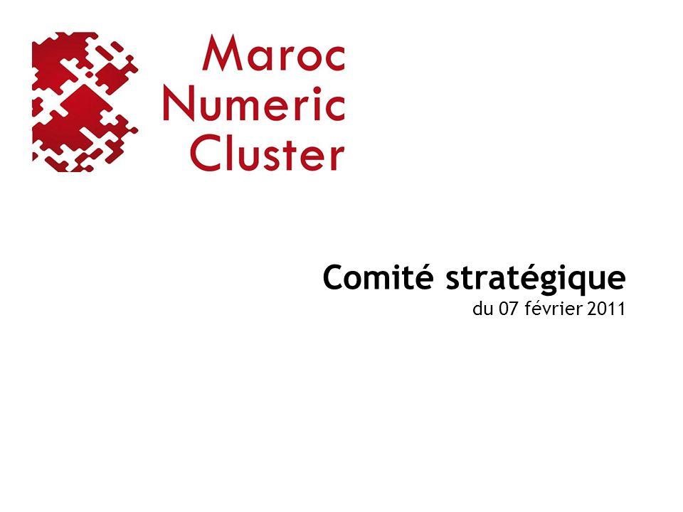 La commission thématique « Multimédia » décline ses engagements Engagement N°1 : Développer le cluster et son écosystème Faire Adhérer 30 sociétés du Technopark à Maroc Numeric Cluster dici 2013 (10 en 2011) Publier 4 articles autour de lactivité de Multimédia dici 2013 (1 en 2011) Organiser des événements pour la promotion de Maroc Numeric Cluster au Technopark (1 en 2011) Engagement N°2 : Développer des projets innovants Découvrir et faire adhérer à Maroc Numeric Cluster 5 projets innovants dici 2013 (2 en 2011) Engagement N°3 : Mieux mobiliser les compétences du secteur Participer à limplication des chercheurs dans les projets labélisé MNC (1 en 2011) Labéliser 2 programmes de formation dici 2013 (1 en 2011) Engagement N°4 : Faciliter laccès au marché pour linnovation Faire adhérer 30 PME et TPE du Technopark dici 2013 (10 en 2011) Engagement N°5 : Connecter linnovation marocaine à linternational Participer à leffort dinternationalisation des projets innovants du MNC 32
