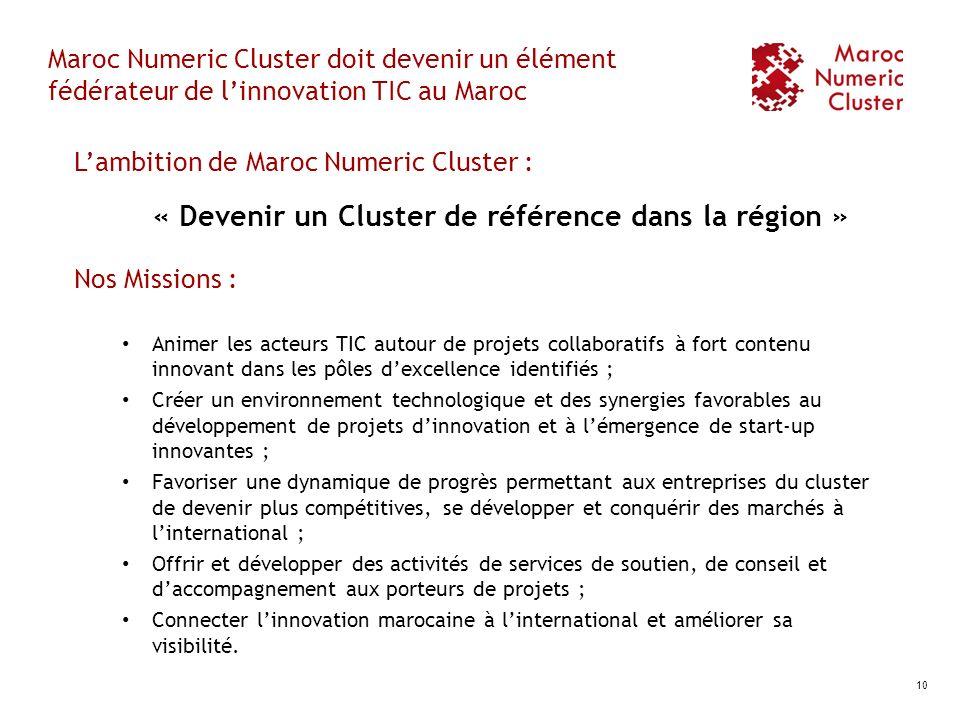 Maroc Numeric Cluster doit devenir un élément fédérateur de linnovation TIC au Maroc Lambition de Maroc Numeric Cluster : « Devenir un Cluster de réfé