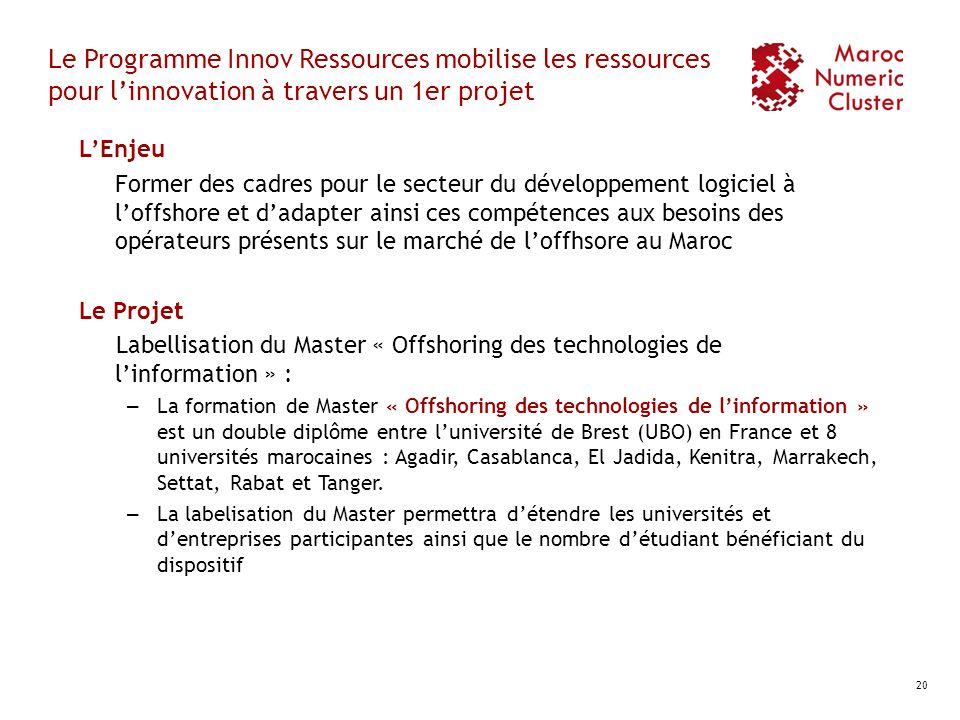 Le Programme Innov Ressources mobilise les ressources pour linnovation à travers un 1er projet LEnjeu Former des cadres pour le secteur du développeme