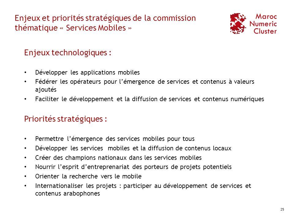 Enjeux et priorités stratégiques de la commission thématique « Services Mobiles » Enjeux technologiques : Développer les applications mobiles Fédérer