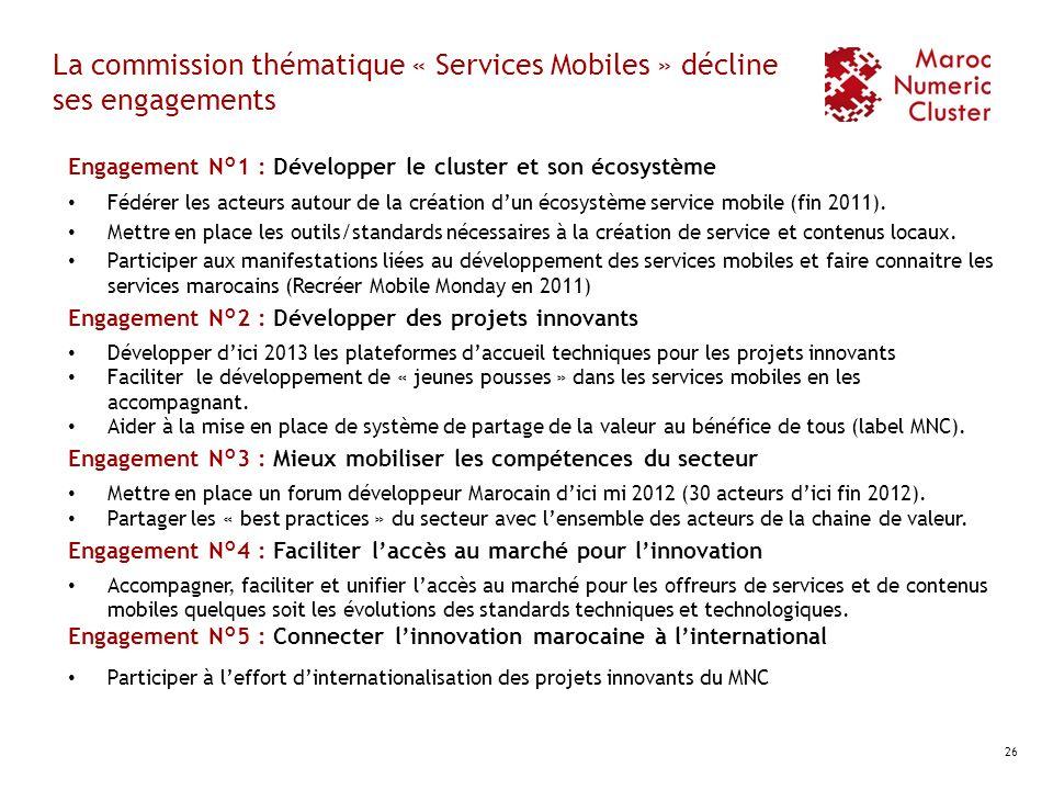 La commission thématique « Services Mobiles » décline ses engagements Engagement N°1 : Développer le cluster et son écosystème Fédérer les acteurs aut