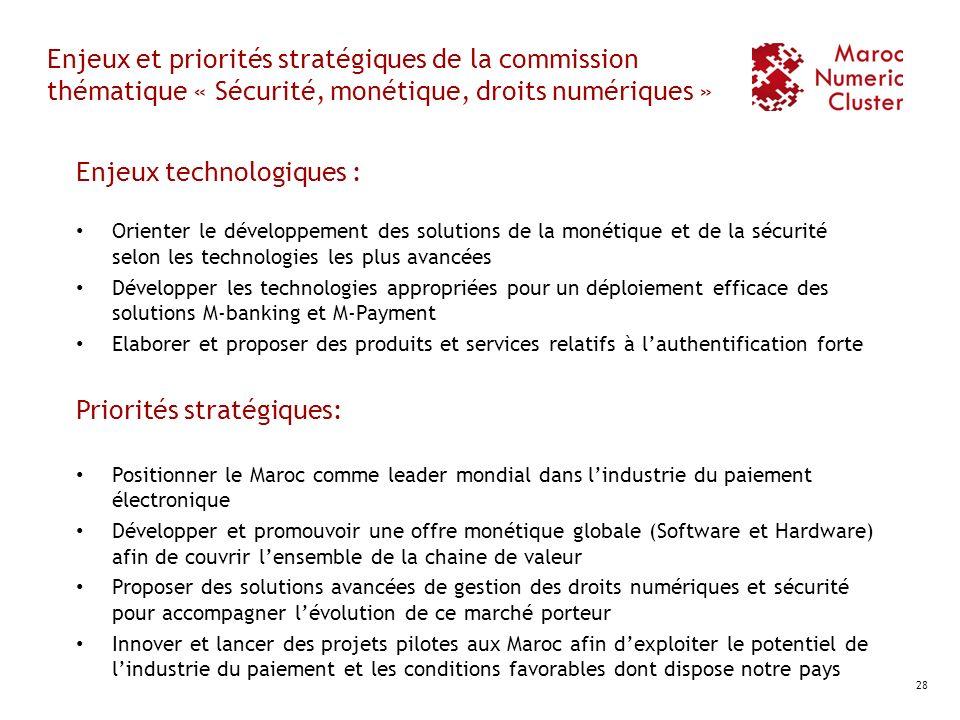 Enjeux et priorités stratégiques de la commission thématique « Sécurité, monétique, droits numériques » Enjeux technologiques : Orienter le développem