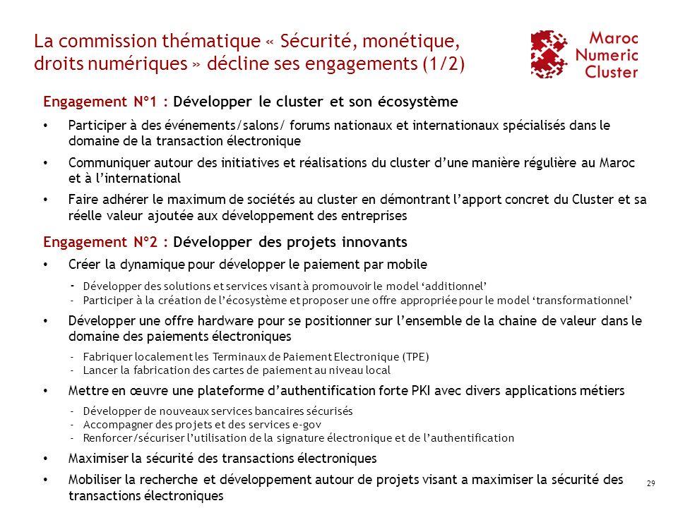 La commission thématique « Sécurité, monétique, droits numériques » décline ses engagements (1/2) Engagement N°1 : Développer le cluster et son écosys