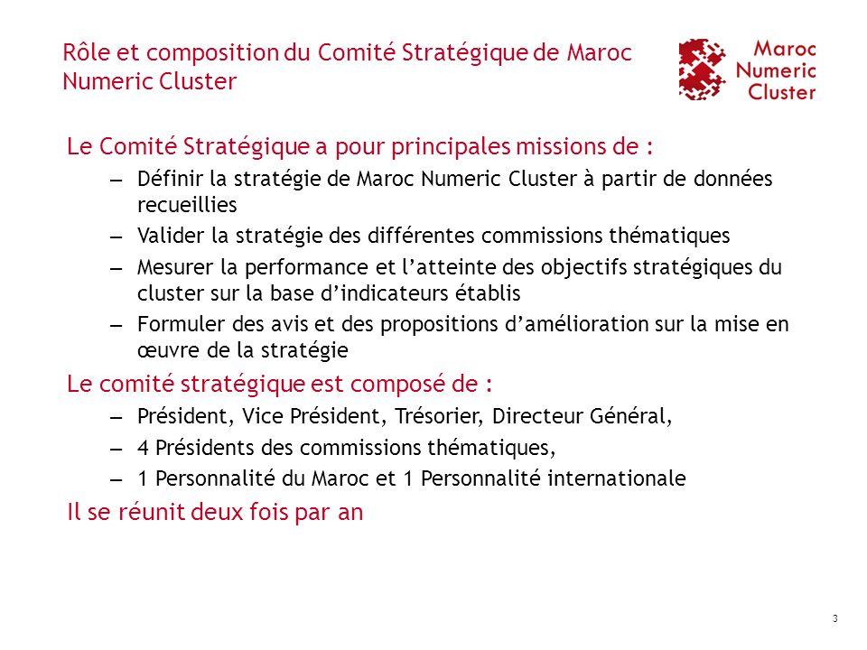 Rôle et composition du Comité Stratégique de Maroc Numeric Cluster Le Comité Stratégique a pour principales missions de : – Définir la stratégie de Ma