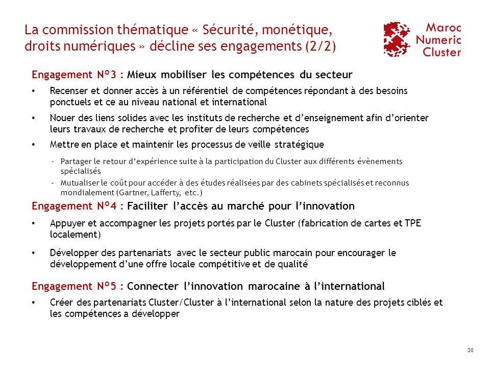 La commission thématique « Sécurité, monétique, droits numériques » décline ses engagements (2/2) Engagement N°3 : Mieux mobiliser les compétences du