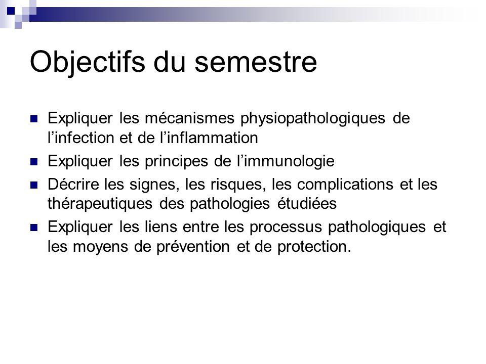 Objectifs du semestre Expliquer les mécanismes physiopathologiques de linfection et de linflammation Expliquer les principes de limmunologie Décrire l