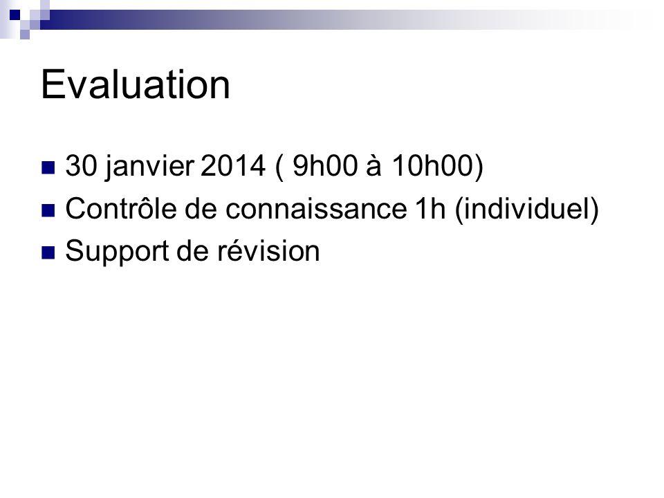 Evaluation 30 janvier 2014 ( 9h00 à 10h00) Contrôle de connaissance 1h (individuel) Support de révision