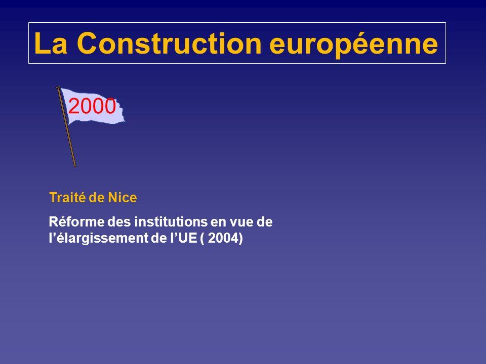La Construction européenne 1997 Traité dAmsterdam Placer lemploi et les droits des citoyens au cœur de lUnion Supprimer les dernières entraves à la li