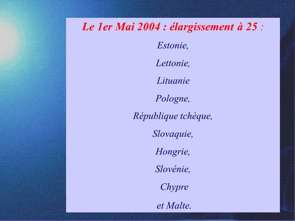 La Construction européenne 2000 Traité de Nice Réforme des institutions en vue de lélargissement de lUE ( 2004)