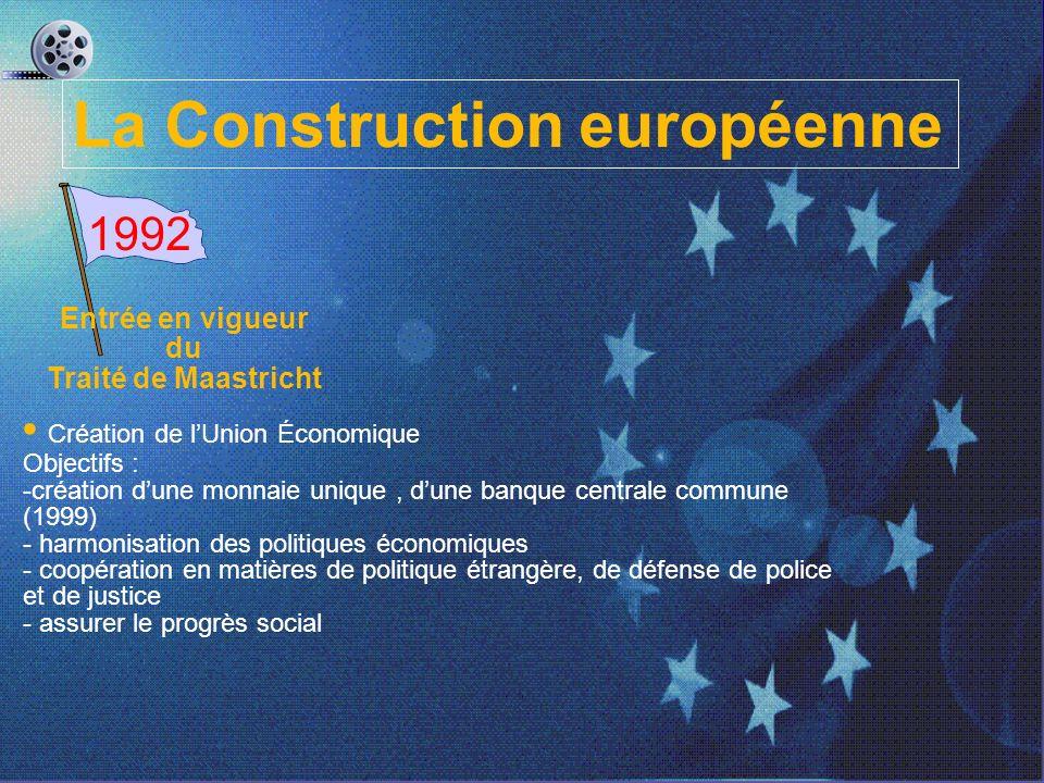 La Construction européenne 1992 Entrée en vigueur du Traité de Maastricht Création de lUnion Économique Objectifs : -création dune monnaie unique, dune banque centrale commune (1999) - harmonisation des politiques économiques - coopération en matières de politique étrangère, de défense de police et de justice - assurer le progrès social