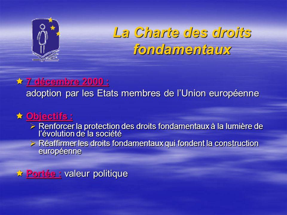 La Charte des droits fondamentaux 7 décembre 2000 : 7 décembre 2000 : adoption par les Etats membres de lUnion européenne Objectifs : Objectifs : Renf