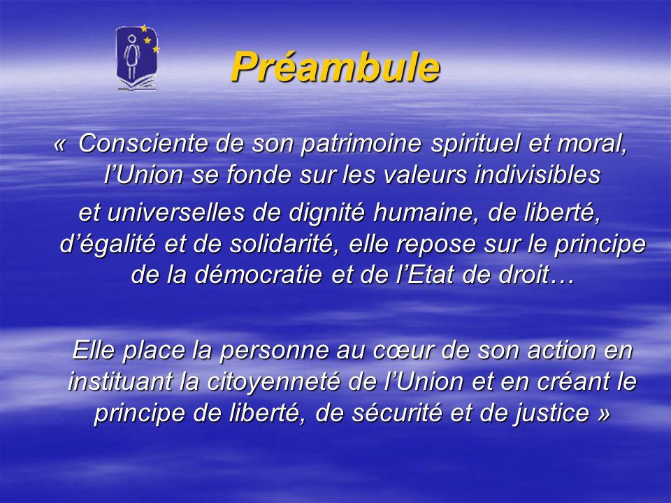 Préambule « Consciente de son patrimoine spirituel et moral, lUnion se fonde sur les valeurs indivisibles et universelles de dignité humaine, de liber