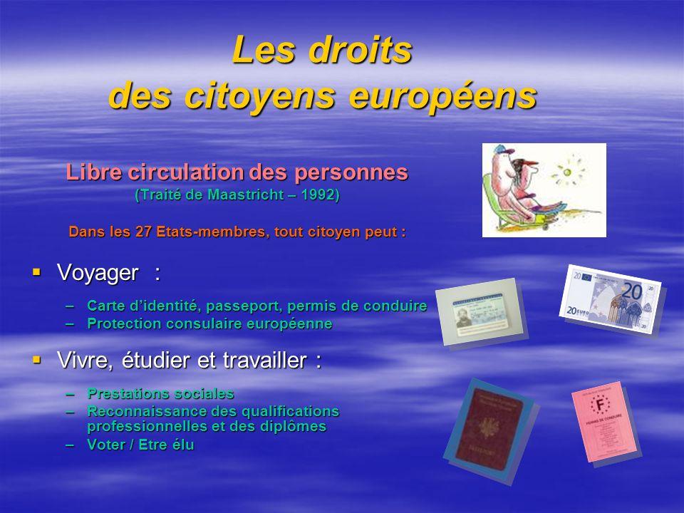 Les droits des citoyens européens Libre circulation des personnes (Traité de Maastricht – 1992) Dans les 27 Etats-membres, tout citoyen peut : Voyager