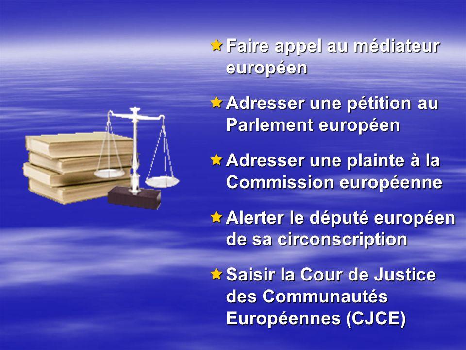 Faire appel au médiateur européen Faire appel au médiateur européen Adresser une pétition au Parlement européen Adresser une pétition au Parlement eur