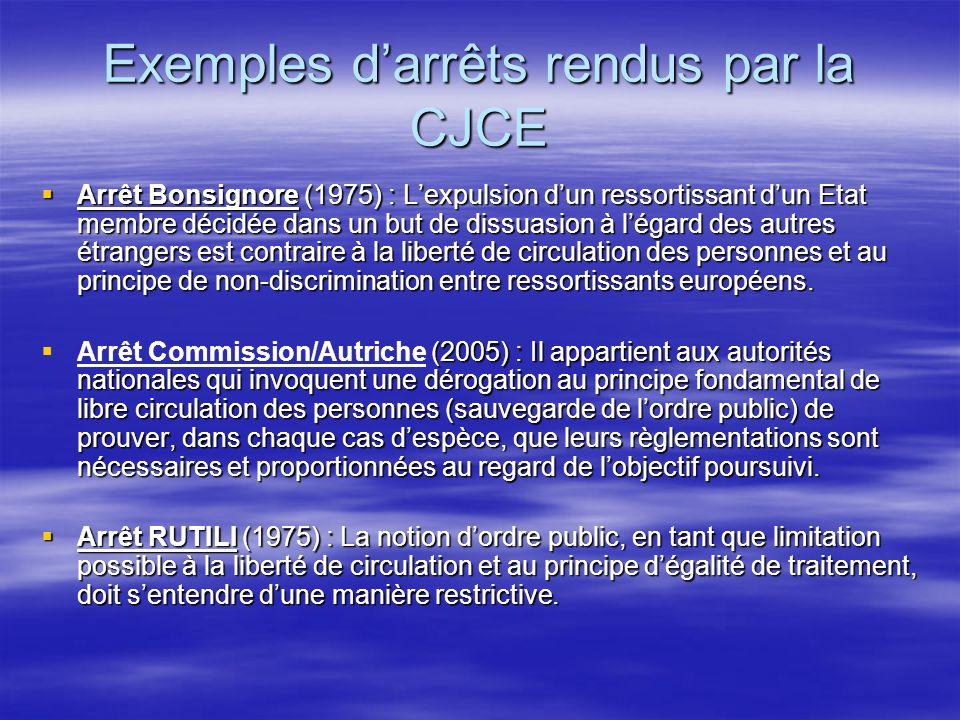 Exemples darrêts rendus par la CJCE Arrêt Bonsignore (1975) : Lexpulsion dun ressortissant dun Etat membre décidée dans un but de dissuasion à légard