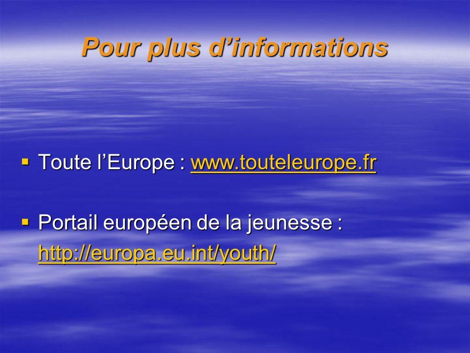 Pour plus dinformations Toute lEurope : www.touteleurope.fr Toute lEurope : www.touteleurope.frwww.touteleurope.fr Portail européen de la jeunesse : P