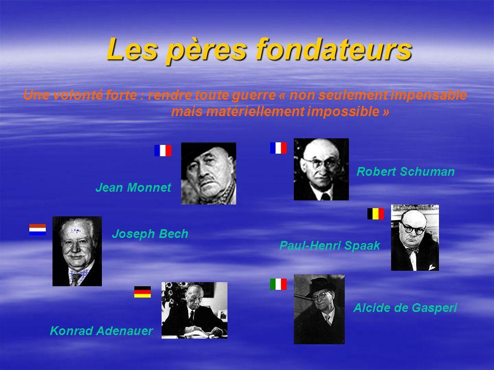 Les pères fondateurs Les pères fondateurs Jean Monnet Robert Schuman Joseph Bech Paul-Henri Spaak Konrad Adenauer Alcide de Gasperi Une volonté forte