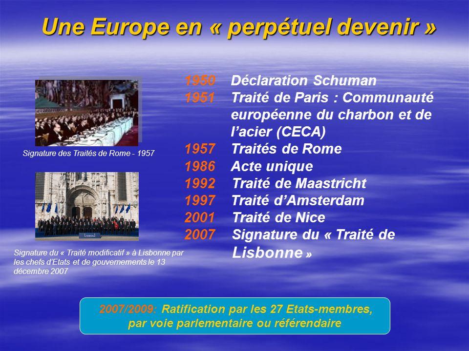 Une Europe en « perpétuel devenir » Une Europe en « perpétuel devenir » 1950 Déclaration Schuman 1951 Traité de Paris : Communauté européenne du charb