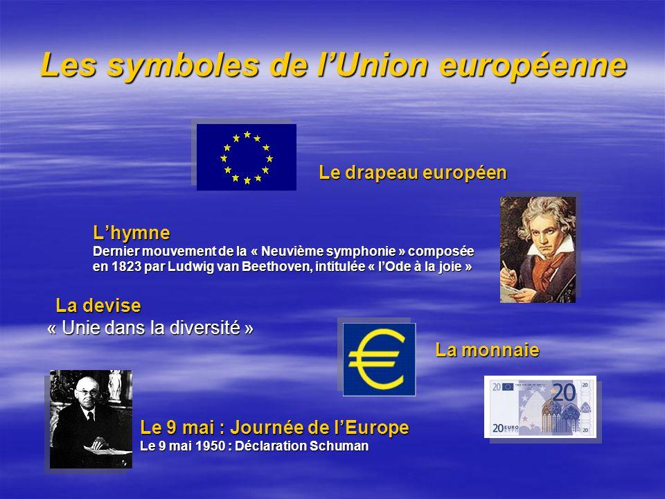 Les symboles de lUnion européenne Le drapeau européen Le drapeau européen Lhymne Lhymne Dernier mouvement de la « Neuvième symphonie » composée Dernie