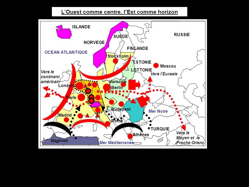 0 500 km OCEAN ATLANTIQUE Mer Méditerranée Moscou Athènes TURQUIE Madrid Rome RUSSIE Varsovie Paris Vers le continent américain Vers le Moyen et le Pr