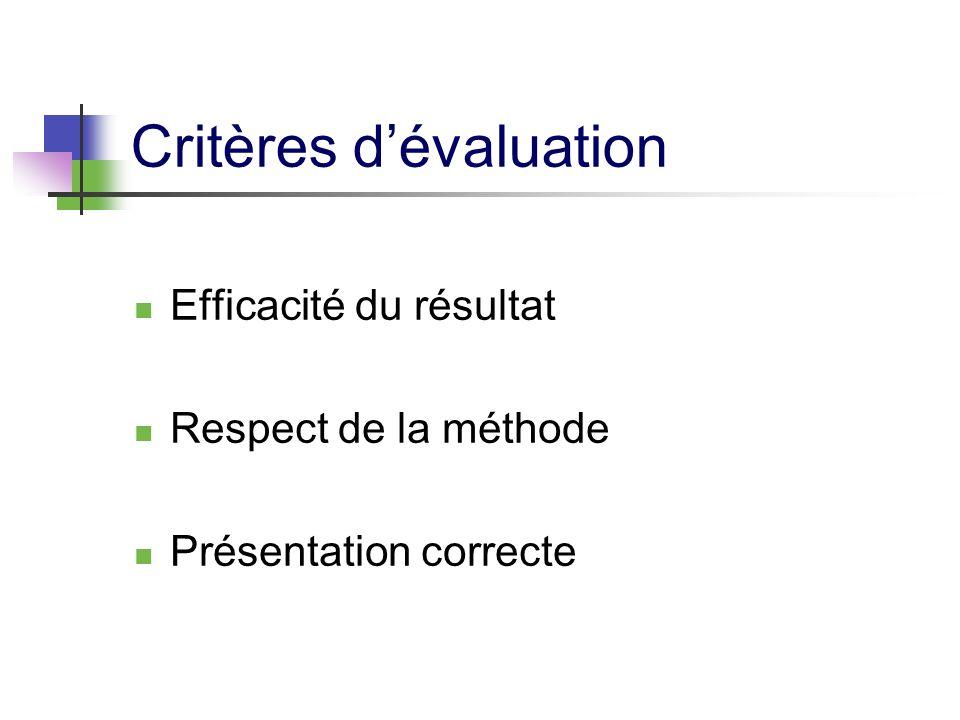 Critères dévaluation Efficacité du résultat Respect de la méthode Présentation correcte