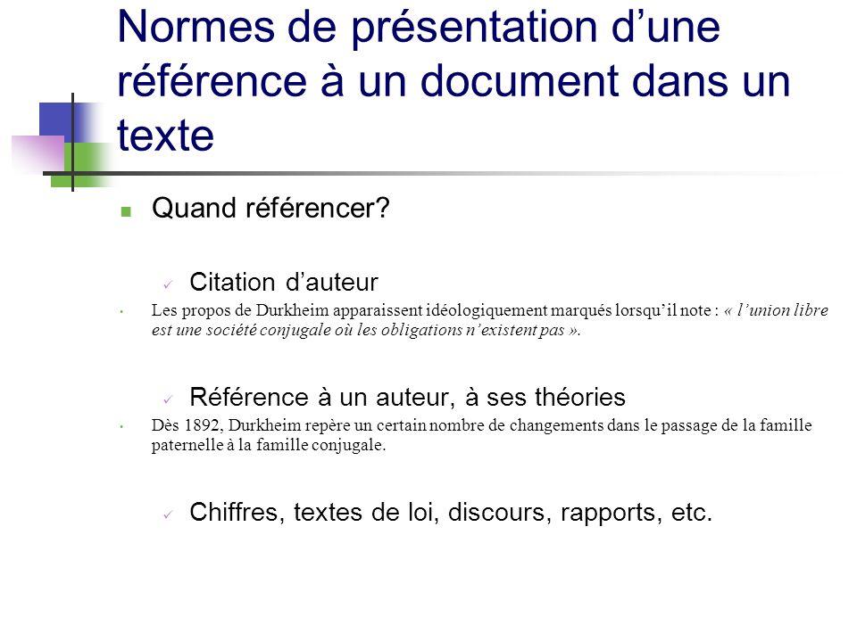 Normes de présentation dune référence à un document dans un texte Quand référencer? Citation dauteur Les propos de Durkheim apparaissent idéologiqueme