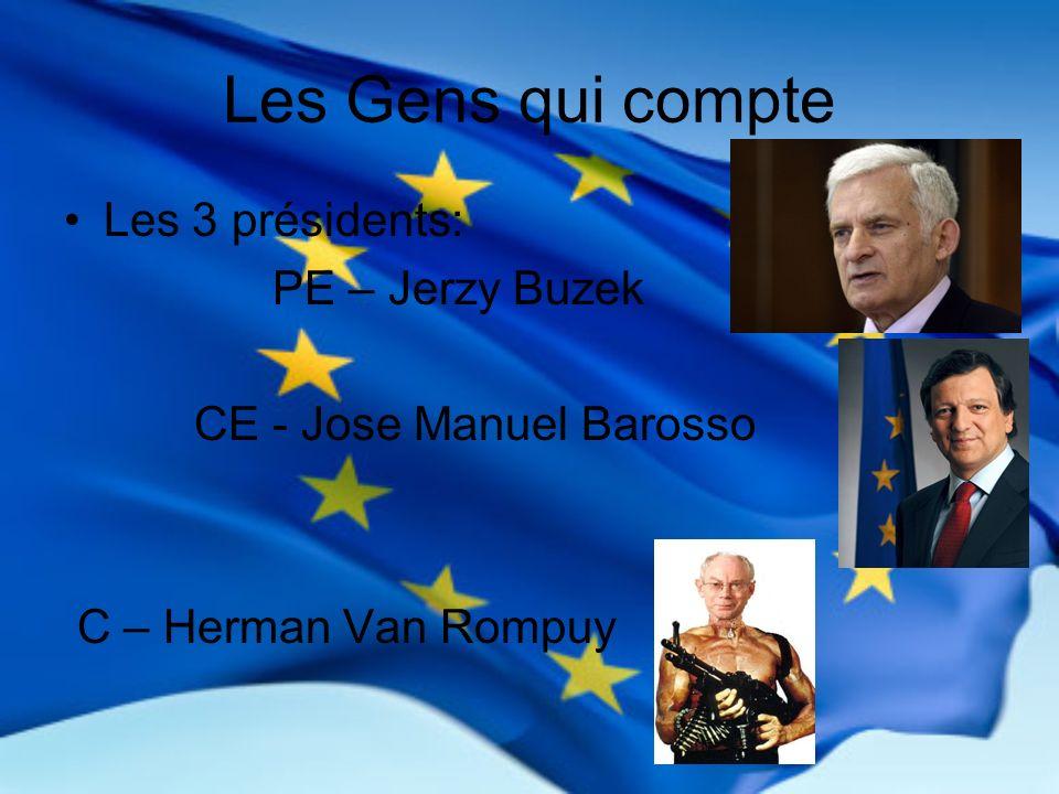 Les Gens qui compte Les 3 présidents: PE – Jerzy Buzek CE - Jose Manuel Barosso C – Herman Van Rompuy