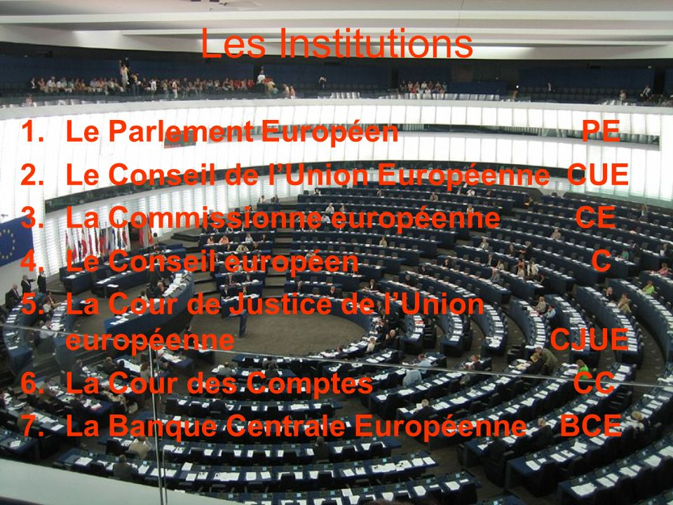 Les Institutions 1.Le Parlement Européen PE 2.Le Conseil de lUnion Européenne CUE 3.La Commissionne européenne CE 4.Le Conseil européen C 5.La Cour de