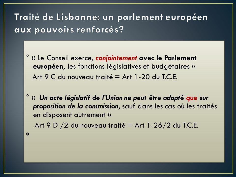° « Le Conseil exerce, conjointement avec le Parlement européen, les fonctions législatives et budgétaires » Art 9 C du nouveau traité = Art 1-20 du T