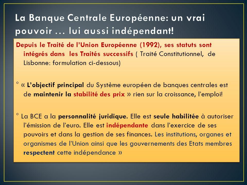 Depuis le Traité de lUnion Européenne (1992), ses statuts sont intégrés dans les Traités successifs ( Traité Constitutionnel, de Lisbonne: formulation