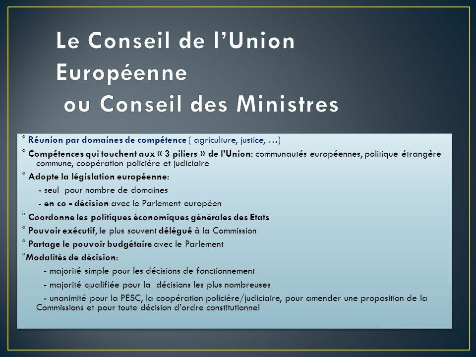 ° Réunion par domaines de compétence ( agriculture, justice, …) ° Compétences qui touchent aux « 3 piliers » de lUnion: communautés européennes, polit