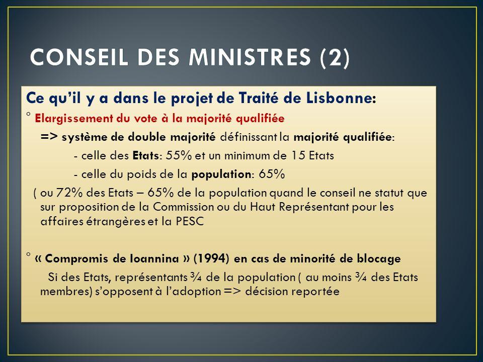 Ce quil y a dans le projet de Traité de Lisbonne: ° Elargissement du vote à la majorité qualifiée => système de double majorité définissant la majorit