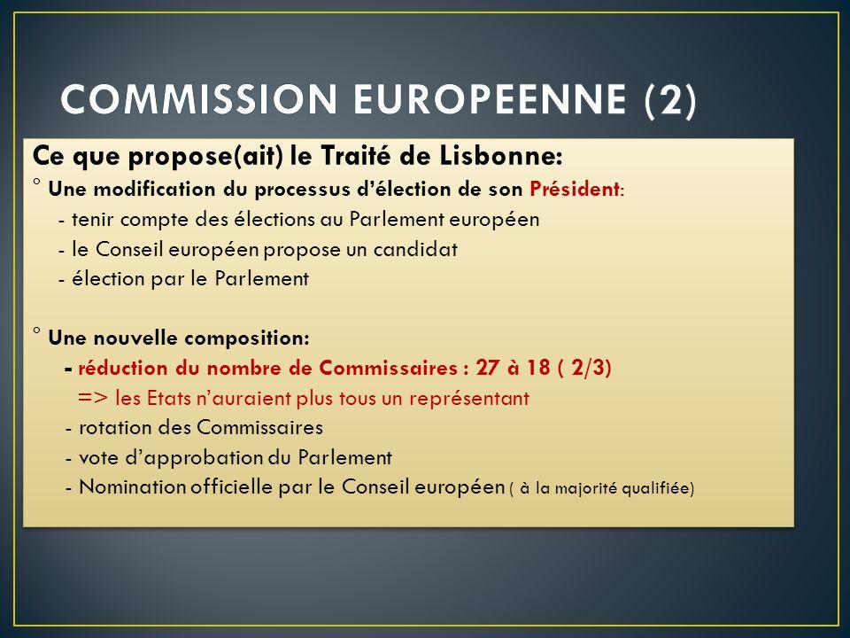 Ce que propose(ait) le Traité de Lisbonne: ° Une modification du processus délection de son Président: - tenir compte des élections au Parlement europ