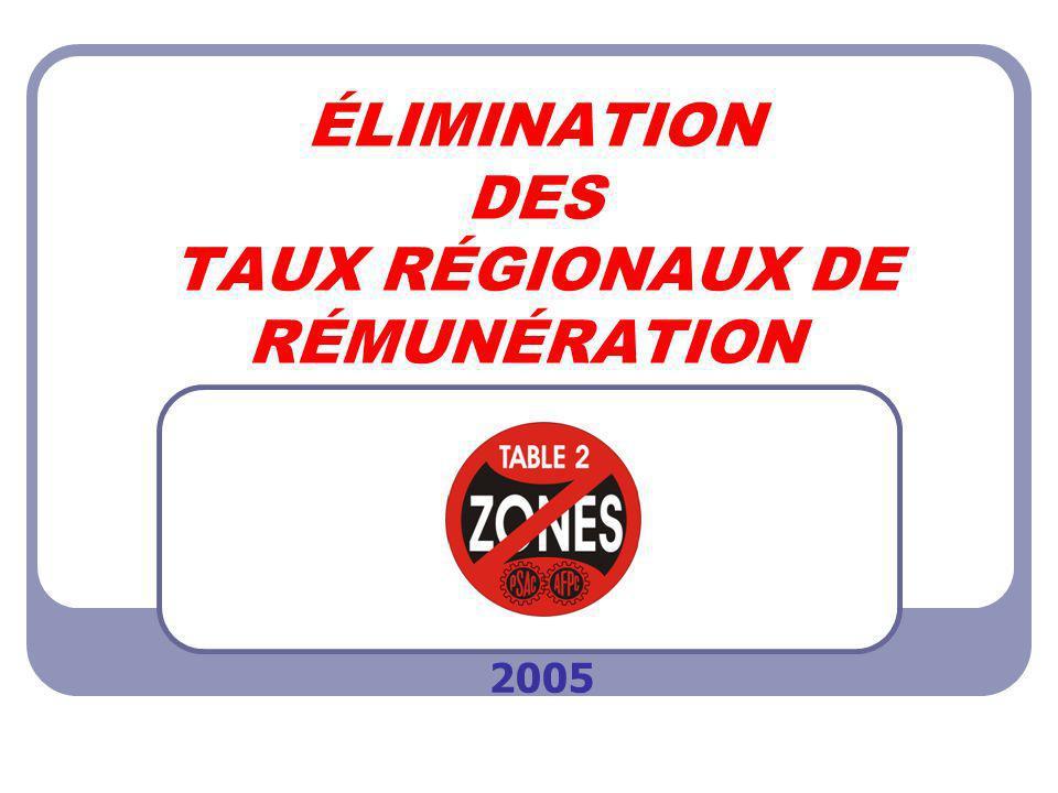ÉLIMINATION DES TAUX RÉGIONAUX DE RÉMUNÉRATION 2005