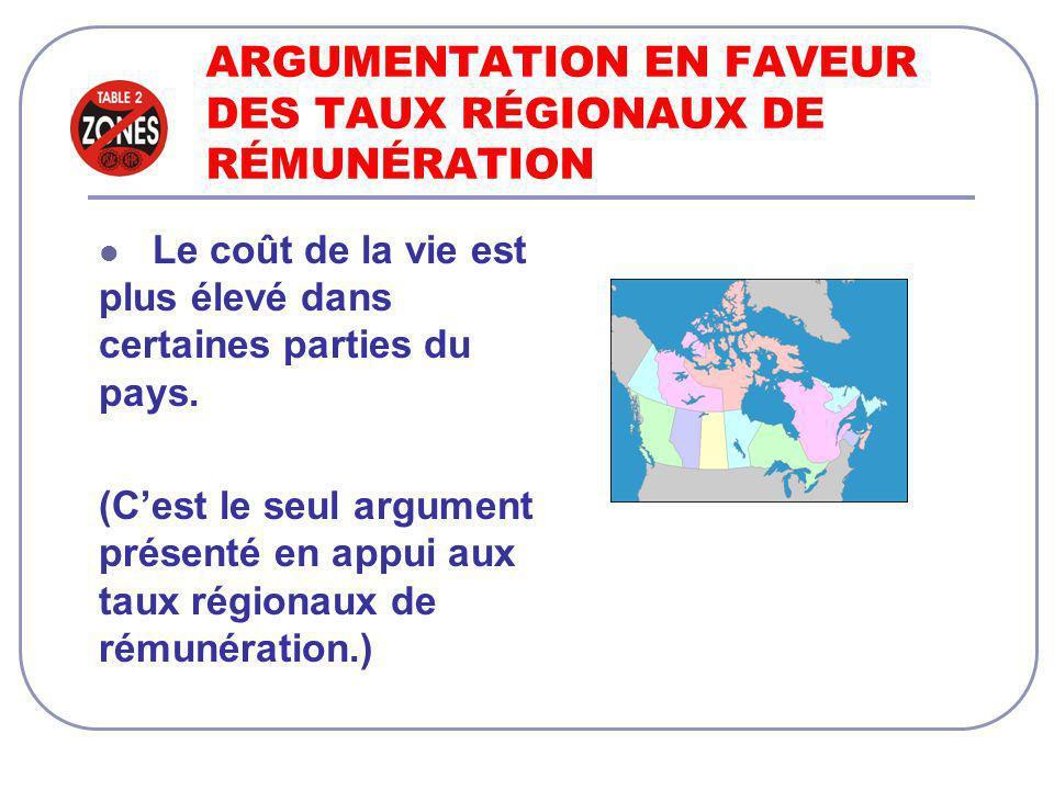 ARGUMENTATION EN FAVEUR DES TAUX RÉGIONAUX DE RÉMUNÉRATION Le coût de la vie est plus élevé dans certaines parties du pays.