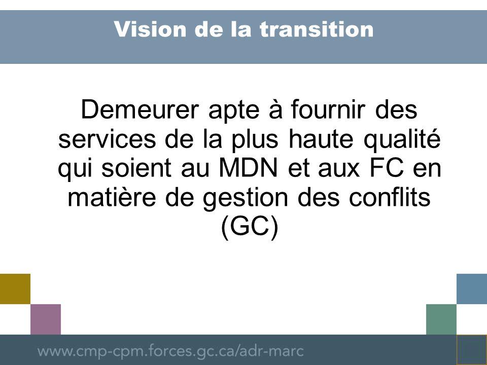 Vision de la transition Demeurer apte à fournir des services de la plus haute qualité qui soient au MDN et aux FC en matière de gestion des conflits (GC)