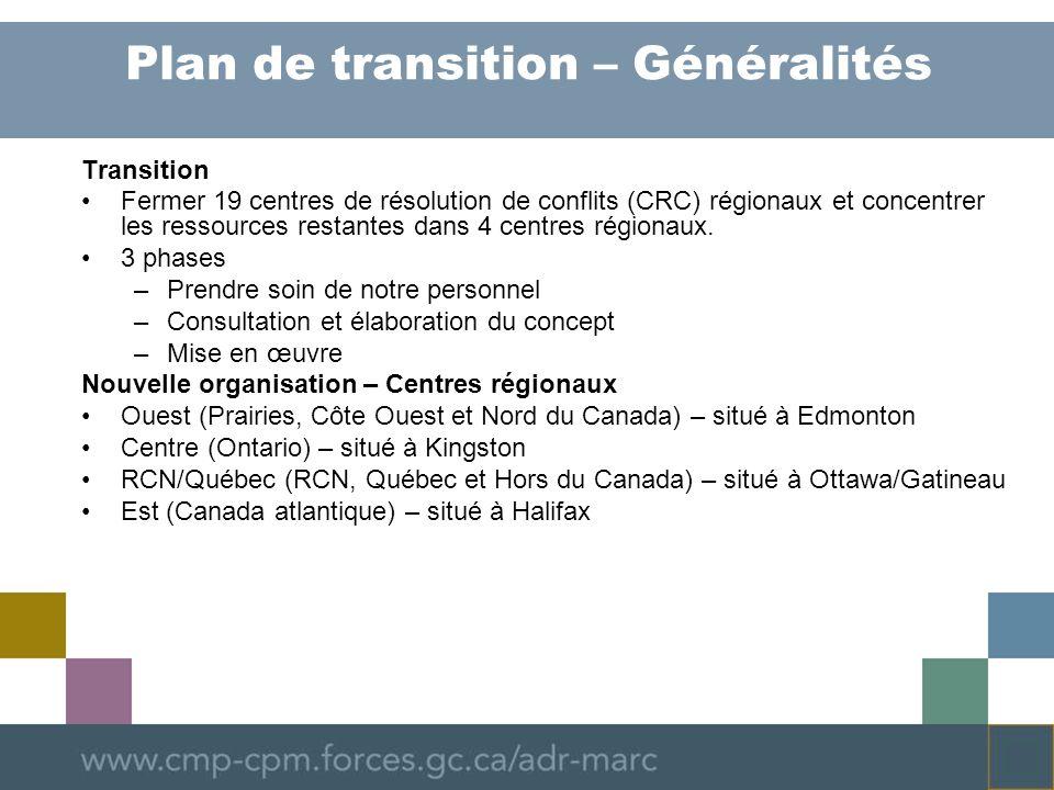 Plan de transition – Généralités Transition Fermer 19 centres de résolution de conflits (CRC) régionaux et concentrer les ressources restantes dans 4 centres régionaux.