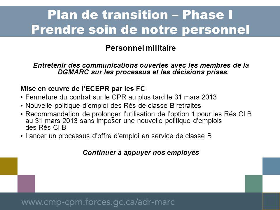 Plan de transition – Phase I Prendre soin de notre personnel Personnel militaire Entretenir des communications ouvertes avec les membres de la DGMARC sur les processus et les décisions prises.