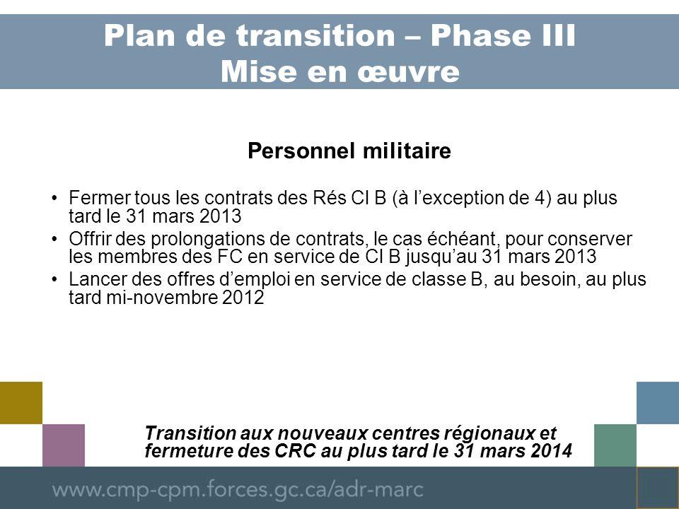 Plan de transition – Phase III Mise en œuvre Personnel militaire Fermer tous les contrats des Rés Cl B (à lexception de 4) au plus tard le 31 mars 2013 Offrir des prolongations de contrats, le cas échéant, pour conserver les membres des FC en service de Cl B jusquau 31 mars 2013 Lancer des offres demploi en service de classe B, au besoin, au plus tard mi-novembre 2012 Transition aux nouveaux centres régionaux et fermeture des CRC au plus tard le 31 mars 2014