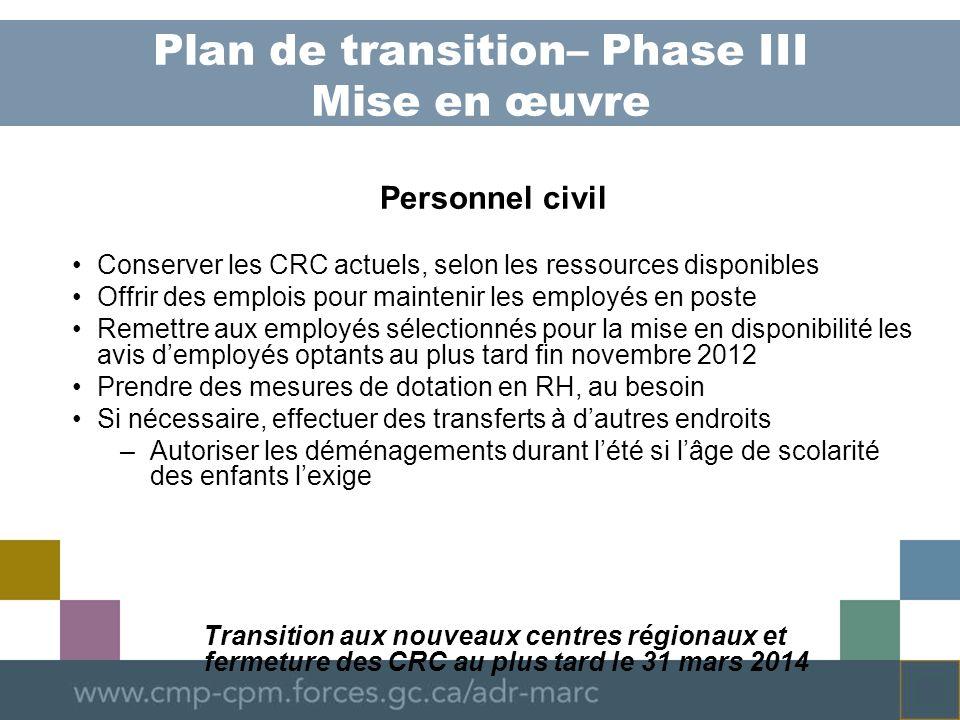 Plan de transition – Phase III Mise en œuvre Programme de gestion des conflits Modifier le concept de la prestation de services en fonction des leçons retenues de lexécution du projet pilote Mettre au point le concept de la prestation de services Surveiller le programme pour sassurer que la vision de la transition se réalise Transition aux nouveaux centres régionaux et fermeture des CRC au plus tard le 31 mars 2014