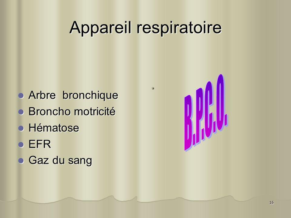 16 Appareil respiratoire Arbre bronchique Arbre bronchique Broncho motricité Broncho motricité Hématose Hématose EFR EFR Gaz du sang Gaz du sang.