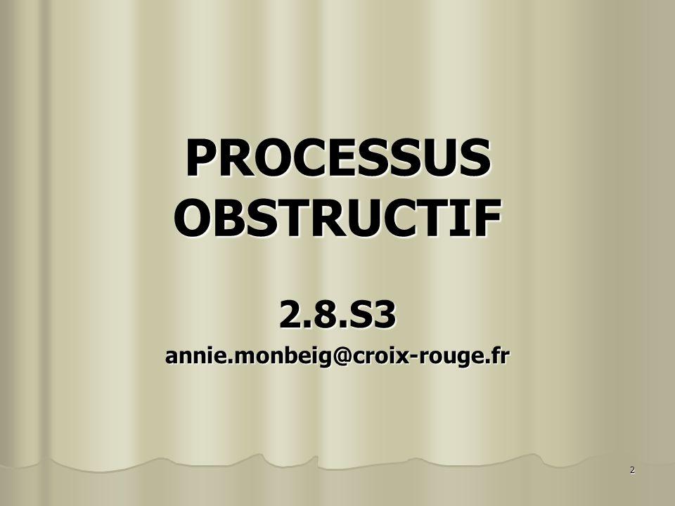 3 Apports Théoriques Apports Théoriques Le 12/09/11 le processus obstructif Le 12/09/11 le processus obstructif T.D.
