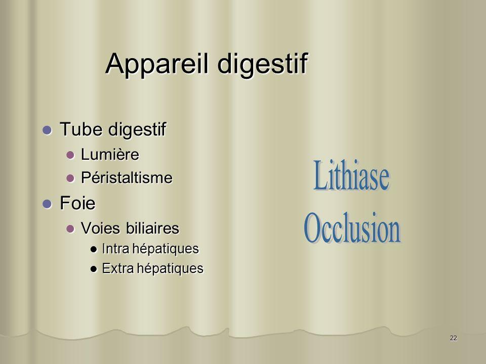 22 Appareil digestif Tube digestif Tube digestif Lumière Lumière Péristaltisme Péristaltisme Foie Foie Voies biliaires Voies biliaires Intra hépatique