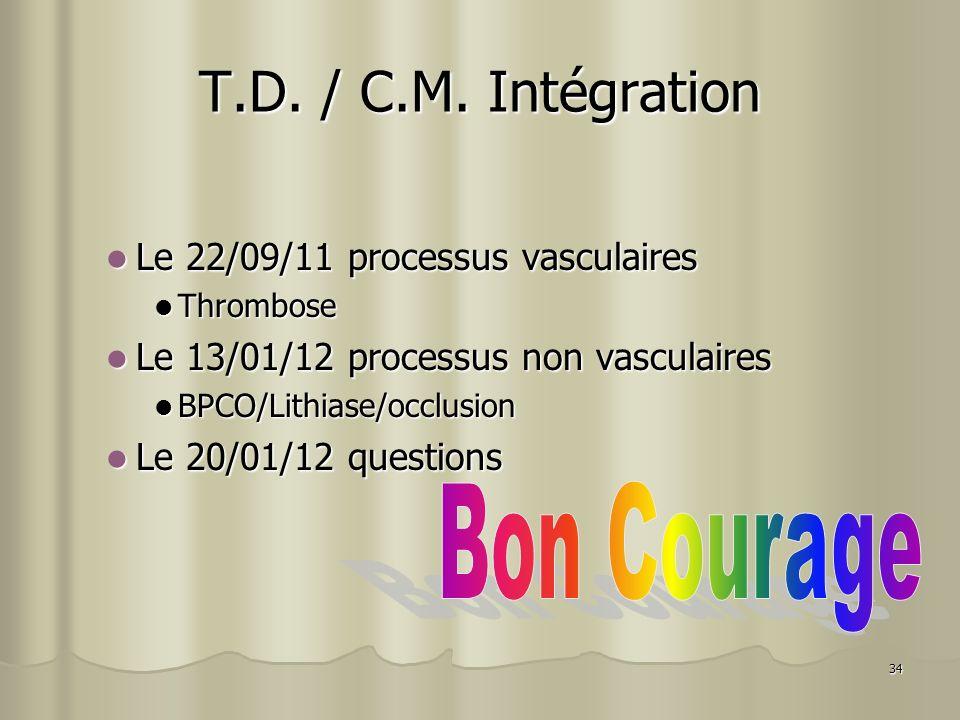 34 T.D. / C.M. Intégration Le 22/09/11 processus vasculaires Le 22/09/11 processus vasculaires Thrombose Thrombose Le 13/01/12 processus non vasculair