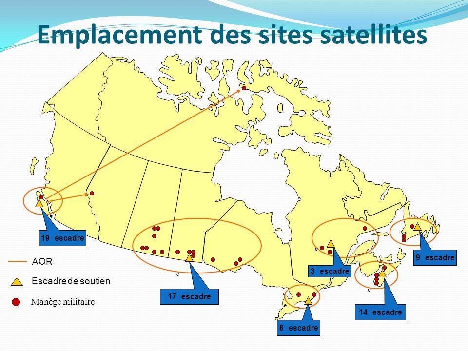 Emplacement des sites satellites Manège militaire Escadre de soutien 14 e escadre 8 e escadre 9 e escadre AOR 3 e escadre 17 e escadre 19 e escadre