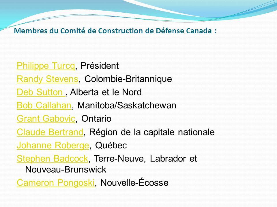 Membres du Comité de Construction de Défense Canada : Philippe TurcqPhilippe Turcq, Président Randy StevensRandy Stevens, Colombie-Britannique Deb Sut