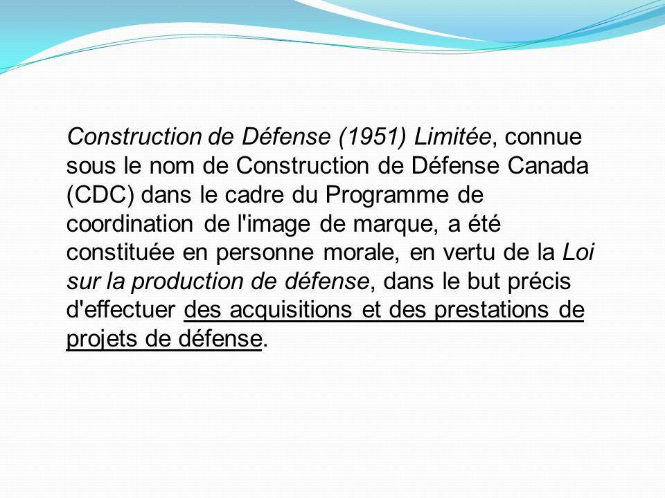 Construction de Défense (1951) Limitée, connue sous le nom de Construction de Défense Canada (CDC) dans le cadre du Programme de coordination de l'ima