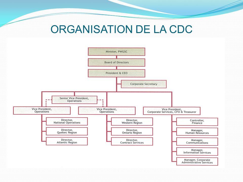 CDC relève du Parlement concernant sa gouvernance et sa gestion par l entremise du ministre des Travaux publics et de Services gouvernementaux Canada.